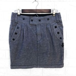 Obey Pyramid Stud Grey and Black Pencil Skirt 29